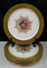 (8) Royal Worcester Hand-Painted Floral & Gold Gilt Bone China Porcelain Plates