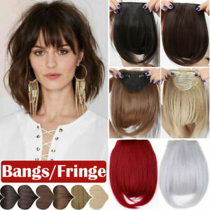 100% Clip In Women For Human Hair Neat Bangs Front Fringe Hair Extensions
