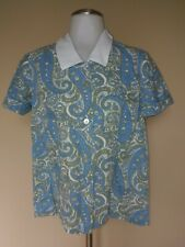 Vtg Blue Paisley Shirt Taupe White Print Pattern Button Down Short Sleeve Small
