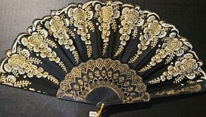 #311 Chinese fan folded party black white glittered flowers gold accents