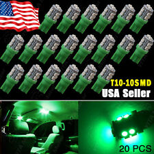 20 X Car Vivid Green T10 10-SMD LED Side Wedge Light Lamp Bulbs W5W 168 2825 194