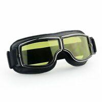 Lunettes Moto Masque Pilot Vintage Cruiser Protection Visage Anti UV Ambre/Noir
