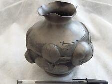 Ancien vase, Etain, PREVOT, pommes et son feuillage, bas relief, ART DECO