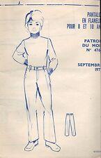 ▬► PATRON Couture Modes et Travaux - Pantalon 8 à 10 ans Septembre 1972