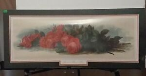 LG80a) Lithograph Print: American Beauty Roses Bouquet