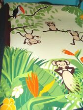 """SHOWER CURTAIN~~Colorful~~TOUCAN MONKEYS JUNGLE Tropical PALM Trees 70"""" x 64"""""""