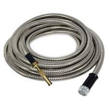 50' FT Metal Garden Hose Stainless Steel 18 Gauge Solid Brass Nozzle Long Last