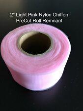 Light Pink Fuchsia Nylon Chiffon PreCut Roll Remnant 2 inch width