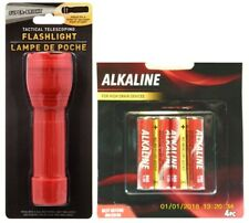 Tactical Telescoping Flashlight with 4 AAA Batteries, Red Black or Gray, NEW.