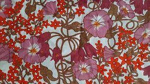 Vintage Fabric Morning Glory Floral Scandinavian Retro Cotton 1970s Art Nouveau