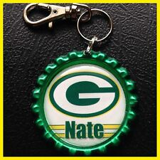 Personalized GREEN BAY PACKERS Bottle Cap Key Ring Chain Zipper Pull Backpack ID