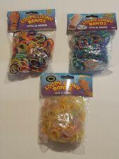 3 Packs Loom Bands 900 Colourful/Striped/Glow Rubber Bands Hooks Bracelets