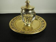 Antique Art Deco Faceted Clear Heavy Glass Inkwell - BRASS c.1920s VERY RARE