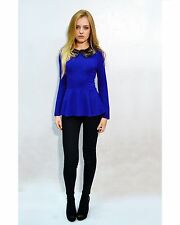 Lady faux fur collar cotton jessy long sleeves peplum  top jumper