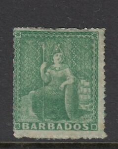 Barbados SG21 1861 (1/2d) Green No wmk Rough Perf 14 to 16 Mint (no gum)