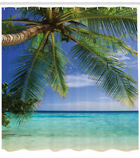 Ocean Decor Tropical Paradise at Maldives with Palms Fabric Shower Curtain