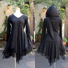 Women Gothic Lolita Black Witch Robe Draped Hooded Dress Asymmetrical Mesh Hem