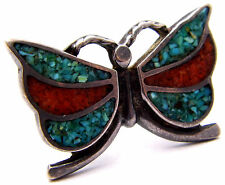 Vintage Sz6 Ring w/Butterfly w/ Inlay Stones Southwestern 925 Sterling Silver