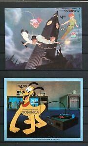 Dominica 1980 2 mini sheets Disney/Peter Pan & pluto/Films/Cartoons MH