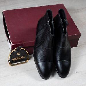 NWB $2400 ARTIOLI  Black Leather And Fur 13UK/14US/47EU G Width