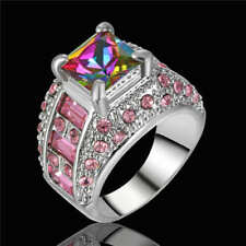 Elegant 925 Sterling Silver Rainbow Mystical Topaz + Pink Sapphire Ring Size: 8