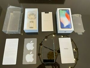 PRISTINE Apple iPhone X 256GB Silver Unlocked A1901 + Original Packaging