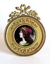 Beautiful Antique French Austrian Enamel Portrait Signed Gilt Bronze Frame