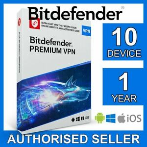 Bitdefender Premium VPN unlimited 2021 10 devices 1 year Win PC Mac Android iOS