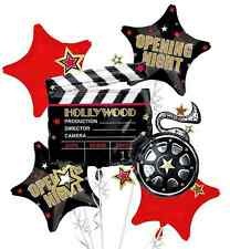 HOLLYWOOD OPENING NIGHT 5 Balloons Bouquet Hollywood Oscar Party Supplies, Decor