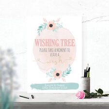 Personalised Wishing Tree or Well Wedding Table Sign Water Colour Effect W19