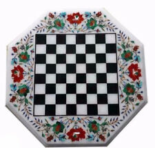 "18"" Marble Chess Coffee Table Top Pietra Dura Art Work Handmade Craft Decor"