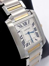CARTIER Large Tank Francaise Two Tone 18K Yellow Gold & SS Automatic 2302 *MINT*