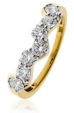 """Diamond 1.00ct Brilliant Cut F VS 18ct Gold Ring Shaped for """"Boat"""" Cluster"""