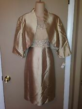 TALBOTS LADIES BEIGE COLOR 2 PIECES SET DRESS AND JACKET SIZE 12 NEW.