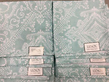 8 LENOX Indoor/Outdoor Cloth Napkins, Lancaster Perle Aqua, NWT