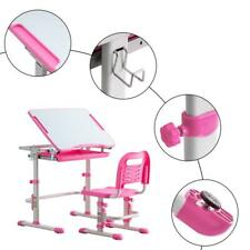 Adjustable Children Kids Students Study Desk and Chair Set Work Station Pink Us