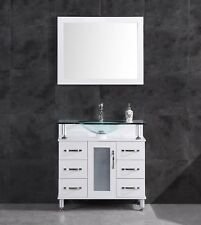 """42"""" Bathroom Vanity Cabinet with Sink Glass Top and Mirror White by LessCare"""