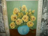 VINTAGE YELLOW ROSES OIL PAINTING FRENCH CREAMY WOOD FRAME COTTAGE MID CENTURY