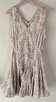 Rebecca Taylor V-neck Drop Pleated Waist Printed Sleeveless Dress Size 2