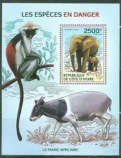 IVORY COAST 2014 FAUNA OF AFRICA ENDANGERED SPECIES SOUVENIR SHEET