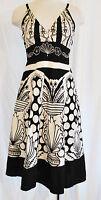 VTG 90s BoHo CHIC Black White Spaghetti Strap Empire Summer Sun Dress L