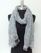 New Soft Knit Long Scarf Wrap Shawl w/frayed edge Cozy Silver Gray UNISEX