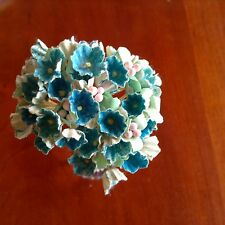 VTG Millinery Flower Forget Me Not Blue Bloom Cluster for Hat Wedding + Hair B1