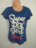 WOMENS SUPERDRY BLUE MARL COTTON SPELLOUT LOGO CREW NECK T SHIRT TOP SMALL S