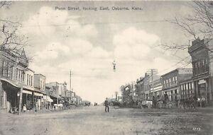 H70/ Osborne Kansas Postcard c1910 Penn Street East Stores Wagons  16