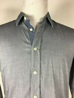 HUGO BOSS ORANGE - Solid blue contrast cuff long sleeve casual shirt M