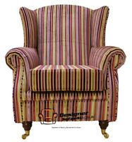 Ashley Wing Chair Fireside High Back Armchair Multi Riga Stripe