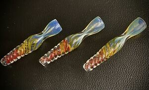(Lot of 3)Glass  Chillum Bowl One Hitter Pipe Glass Hand Pipe USA MADE 🇺🇸❤️