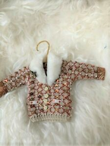 Anthropologie Sweater Christmas Ornament Fur Rhinestone Brooch Beaded miniature