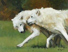 Original Oil painting - wildlife art - portrait - white wolves - by j payne